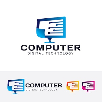 Computer digitale technologie vector logo sjabloon