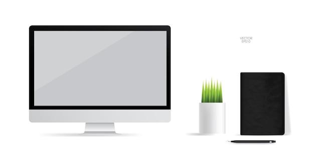 Computer display achtergrond met leeg scherm op wit