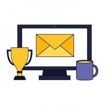 Computer e-mail trofee koffiekopje sociale media