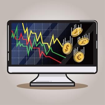 Computer en afnemende grafiek met geld.