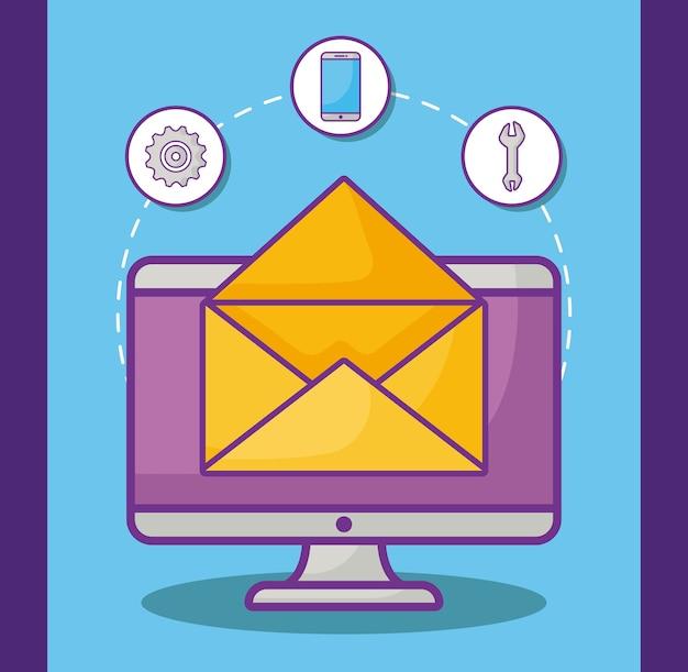 Computer en envelop met online marketing gerelateerde pictogrammen