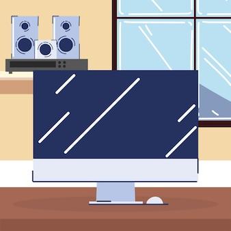 Computer en geluidssysteem
