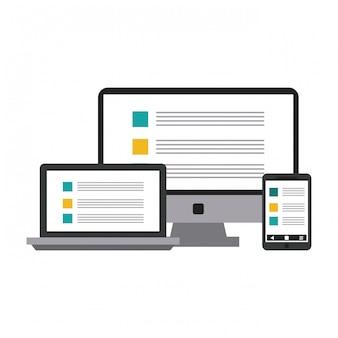 Computer en laptop met smartphone