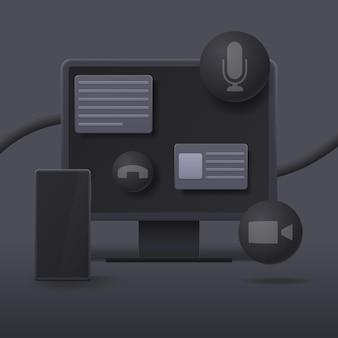 Computer en smartphone in 3d-stijl op donker.