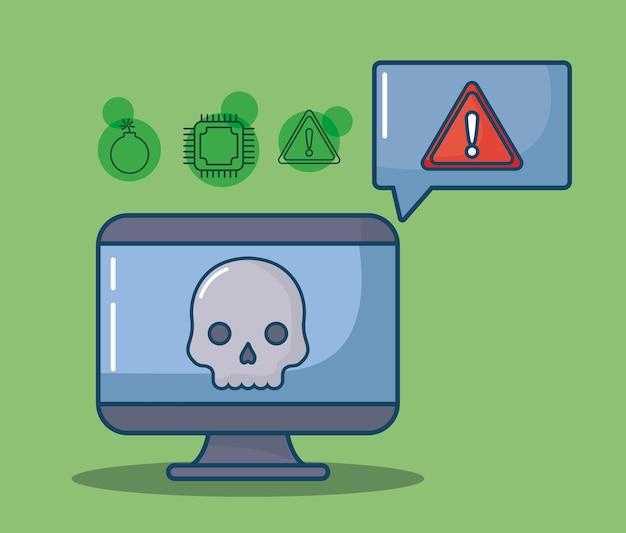 Computer en toespraak bubble pictogram op groene achtergrond