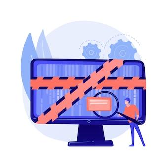 Computer forensische wetenschap. digitale bewijsanalyse, onderzoek naar cybercriminaliteit, gegevensherstel. cybersecurity-expert die frauduleuze activiteiten identificeert.