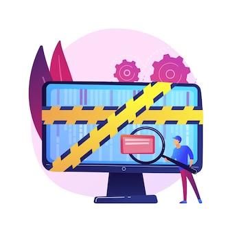 Computer forensische wetenschap. digitale bewijsanalyse, onderzoek naar cybercriminaliteit, gegevensherstel. cybersecurity-expert die frauduleuze activiteiten identificeert