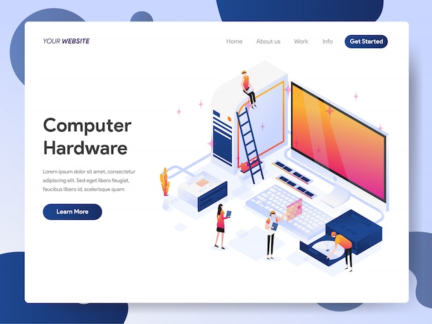 Computer hardware engineer banner van bestemmingspagina