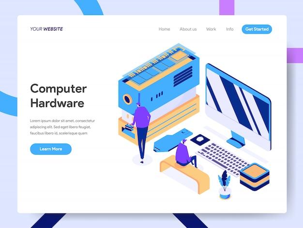 Computer hardware engineer isometric illustration voor websitepagina