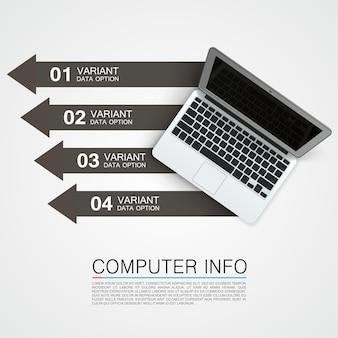 Computer info banner kunst creatief. vector illustratie