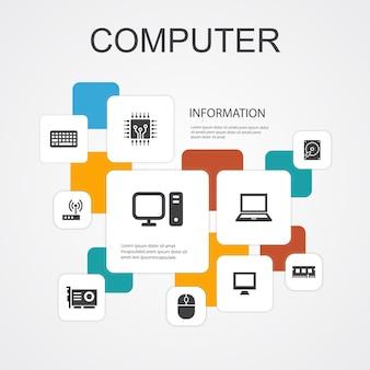Computer infographic 10 lijn iconen sjabloon. cpu, laptop, toetsenbord, harde schijf eenvoudige pictogrammen