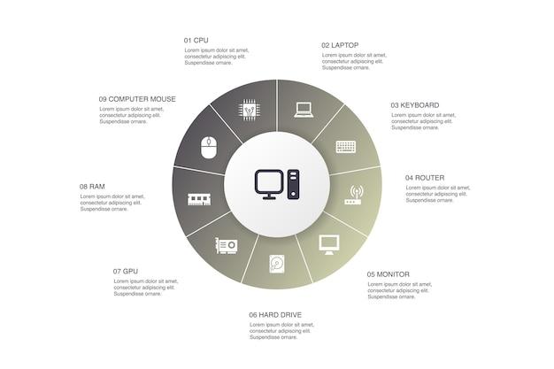 Computer infographic 10 stappen cirkel ontwerp. cpu, laptop, toetsenbord, harde schijf eenvoudige pictogrammen