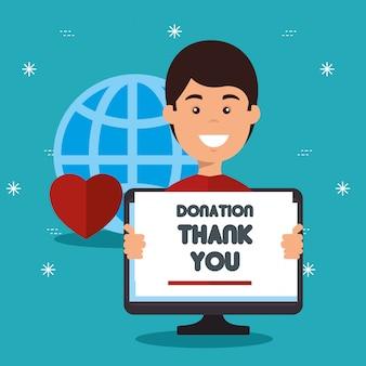 Computer met bord voor online donatie aan goede doelen