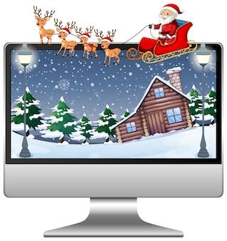 Computer met bureaublad van het kerstthema