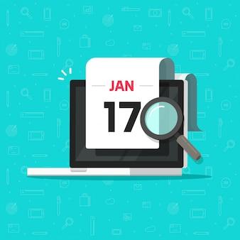 Computer met kalender geplande datum en meer magnifier glas die de illustratie van de gebeurtenisdatum zoeken