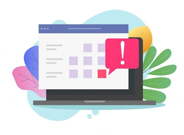 Computer met online deadline aankondiging van de kalender op de website