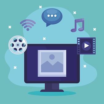 Computer met pictogrammen voor multimedia-inhoud