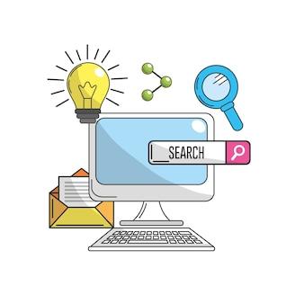 Computer met pictogrammen voor technologie-informatie