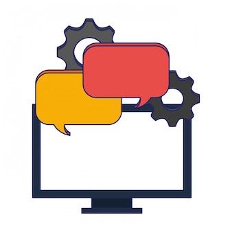 Computer met praatjebellen en versnellingen
