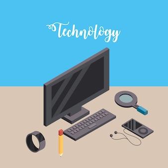 Computer met smarphone en smartwatch-technologie verbinden