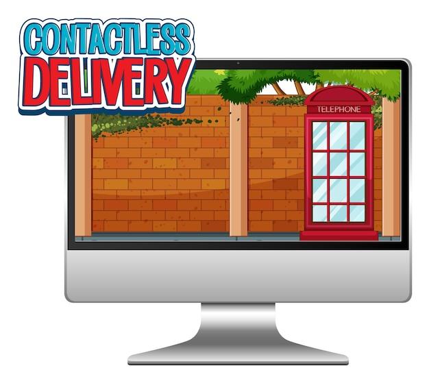 Computer met snel en contactloos logo