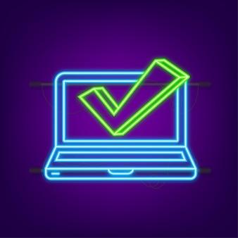 Computer met vinkje. neon icoon. goedgekeurde keuze. accepteer of keur het vinkje goed. vector illustratie.