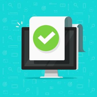 Computer met vinkje of vink melding op document of goedgekeurd bestand pictogram platte cartoon ontwerp
