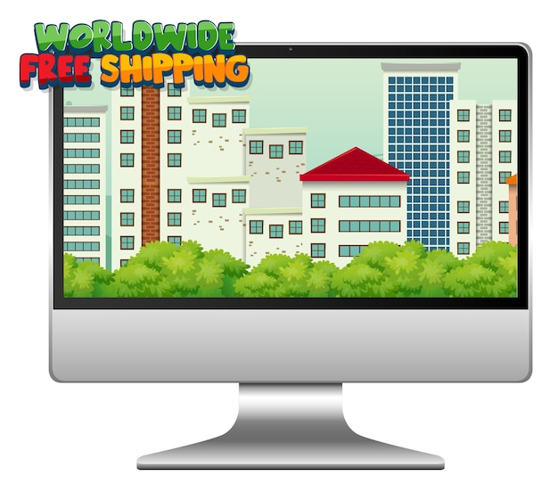 Computer met wereldwijd gratis verzendlogo