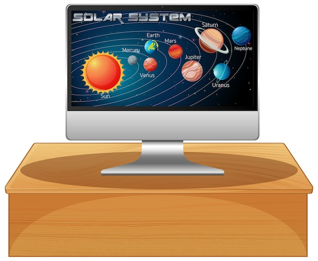 Computer met zonnestelsel op het scherm