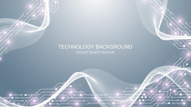 Computer moederbord achtergrond met printplaat elektronische elementen. .