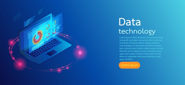 Computer op blauwe achtergrond schermen moderne infographic.