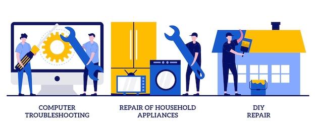 Computer probleemoplossing, doe-het-zelf reparatie van huishoudelijke apparaten concept met kleine mensen. reparatie- en onderhoudsdiensten ingesteld. garantie, videozelfstudie, probleemoplossing metafoor.