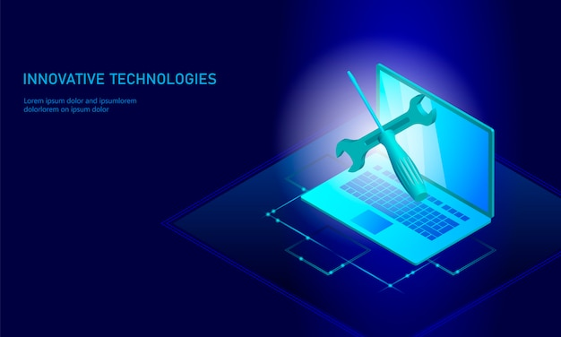 Computer reparatie isometrische laptop, 3d-blauwe platte technische ondersteuning schroevendraaier