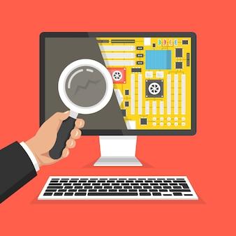 Computer reparatie, service. hand die een vergrootglas houdt