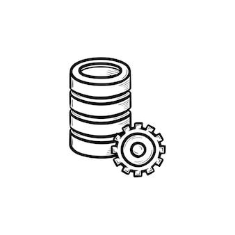 Computer server hand getrokken schets doodle pictogram. database, gegevensserverinstellingen, concept voor technologische innovaties