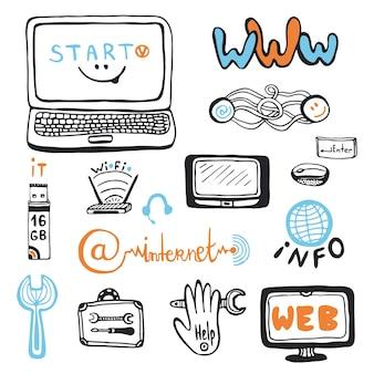 Computer service doodles ingesteld. computer reparatiecentrum vector iconen