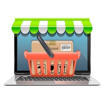 Computer shopping concept geïsoleerd op een witte achtergrond