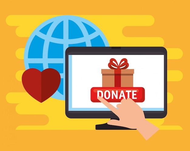 Computer voor online donatie aan goede doelen