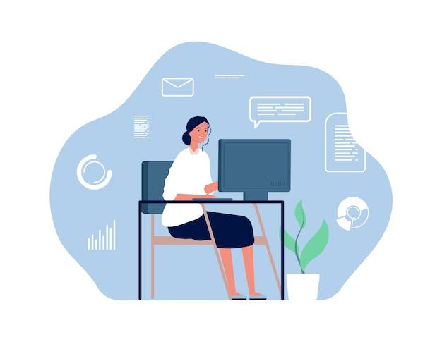 Computer werknemer. vrouw zit bureau, thuiswerkplek. jong kantoormeisje, overwerkte zakenvrouw. Premium Vector