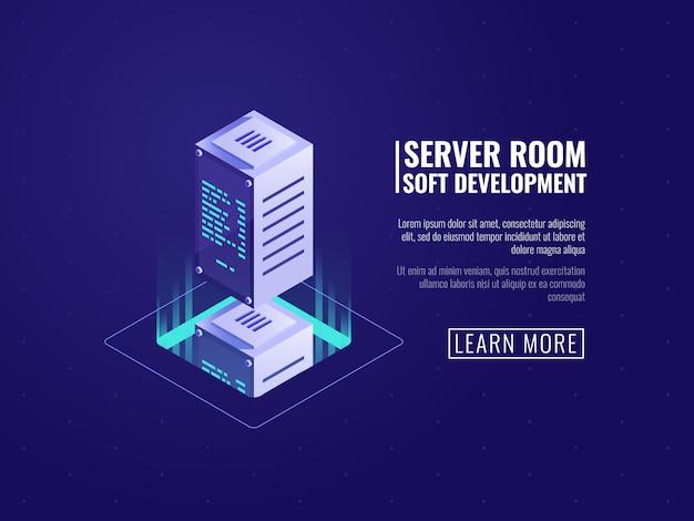 Computerapparatuur, big dataverwerking, digitale informatietechnologie, opslag van cloudbestanden