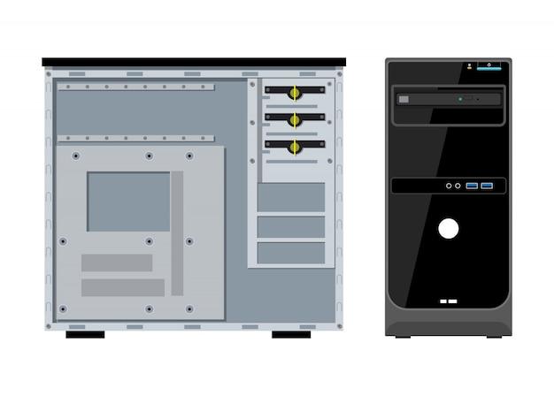 Computerbehuizing voor- en zijaanzicht