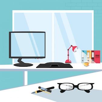 Computerbureau met leveringsbureau op de werkplek