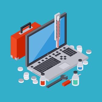Computerdienst, reparatie, technische ondersteuning, eerste hulp vlakke 3d isometrische vectorconceptenillustratie