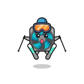 Computerfan mascotte karakter als ski-speler, schattig stijlontwerp voor t-shirt, sticker, logo-element