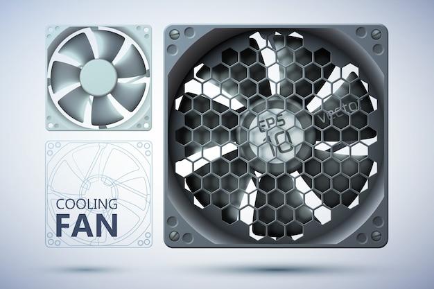 Computerkoelsysteem met realistische ventilatoren met en zonder rooster