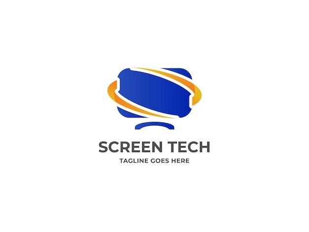 Computerlogo en technologie logo-ontwerp premium vector
