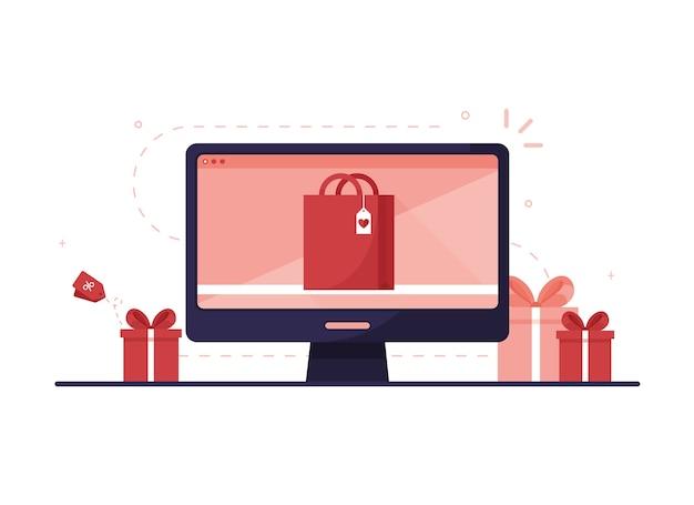 Computermonitor met een online winkelsite waar u via internet cadeaus voor de vakantie kunt bestellen. rood en roze