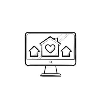 Computermonitor met huizen en huis met hart hand getrokken schets doodle pictogram. vastgoed website concept. schets vectorillustratie voor print, web, mobiel en infographics op witte achtergrond.