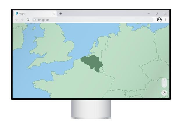 Computermonitor met kaart van belgië in browser, zoek naar het land van belgië op het webkaartprogramma.