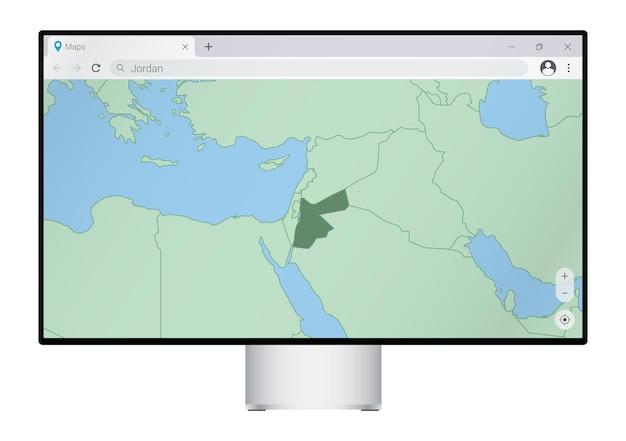 Computermonitor met kaart van jordanië in browser, zoek naar het land jordanië op het webkaartprogramma.